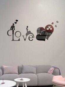 الجوف خارج الحب القلب 3d مرآة الجدار ملصق - أسود