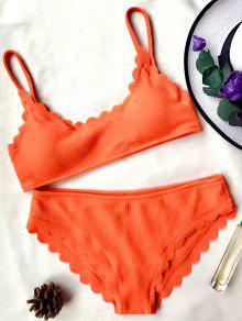Scalloped Bralette Bikini Set - Orange S