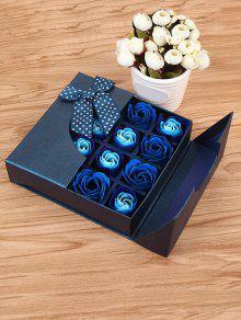 هدية لعيد الأمهات 1 صندوق 16 شبكات وردة صابون اصطناعية  - ملكي