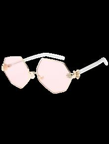 Faux Pearl Nose Pad Geometric Sunglasses - Pink