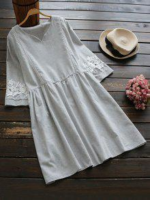Lace Panel Smock Dress With Ladder Detail - Light Grey