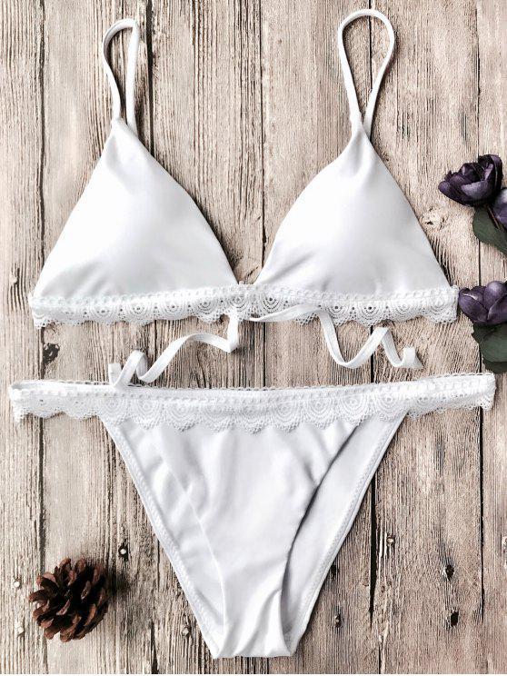 women's Scalloped Lace Sapghetti Strap Bikini Set - WHITE S