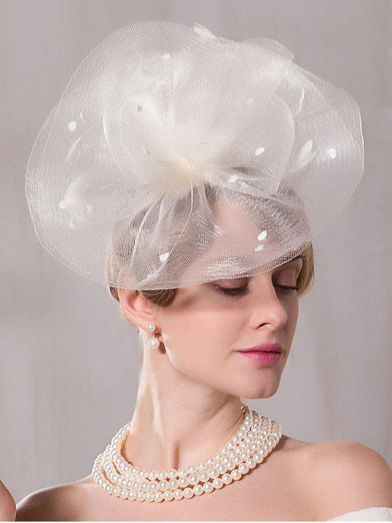 Cappello da cocktail in feltro floreale di grandi dimensioni - Bianco