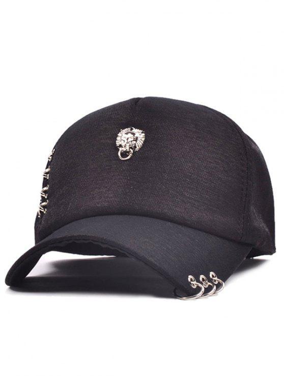 38a51b136ed 2019 Alloy Lion Head Circle Ring Baseball Cap In BLACK