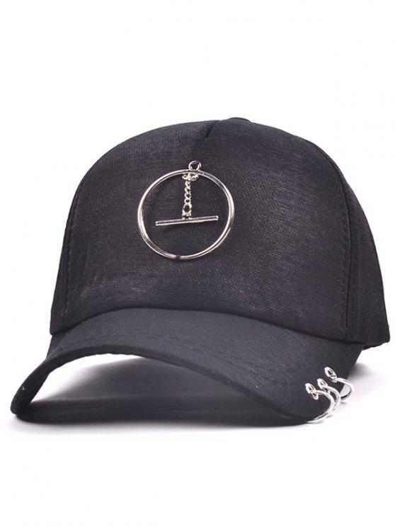 سبيكة دائرة حلقة قلادة قبعة بيسبول - أسود