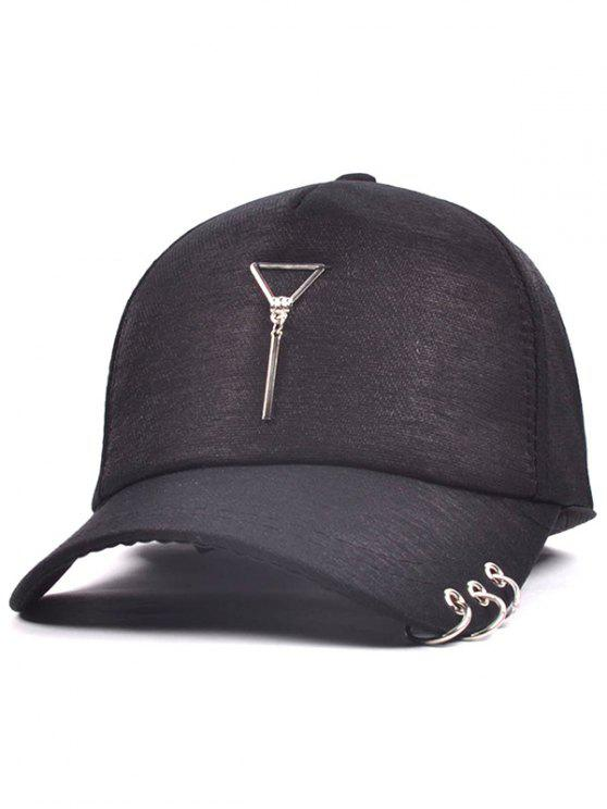 المعادن دائرة مثلث قلادة البيسبول قبعة - أسود