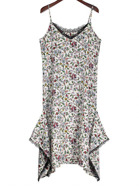womens Slip Floral Asymmetric Lace Trim Dress - WHITE S