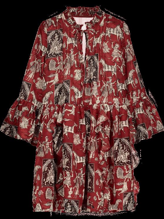 Gedrucktes Kleid aus Chiffon  mit  Rüsche und trompeten Ärmel - Rot S