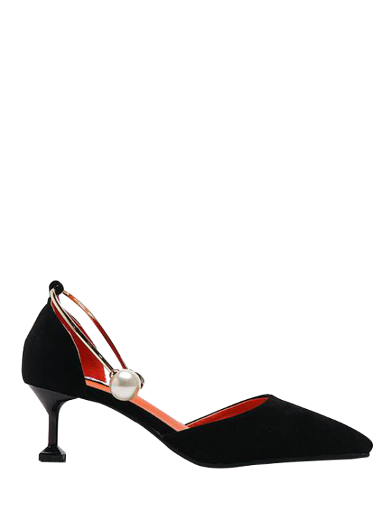 unique Faux Pearl Strange Style Pointed Toe Pumps - BLACK 38