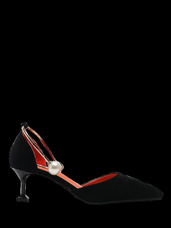sale Faux Pearl Strange Style Pointed Toe Pumps - BLACK 37