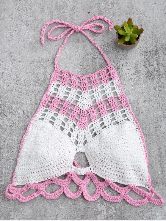 women's High Neck Color Block Crochet Swim Top - WHITE ONE SIZE