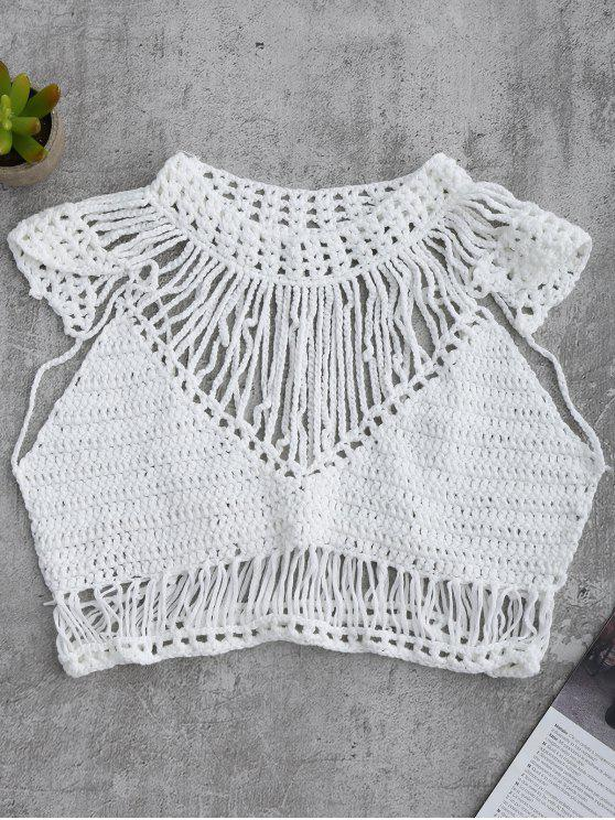 latest Crochet Cropped Cover Up Top - WHITE L