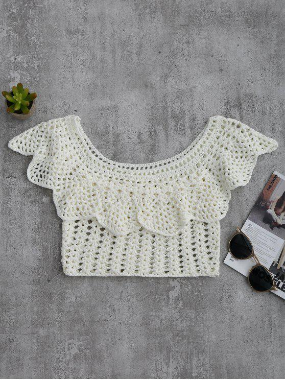 fashion Crochet Cover Up Crop Top - WHITE L