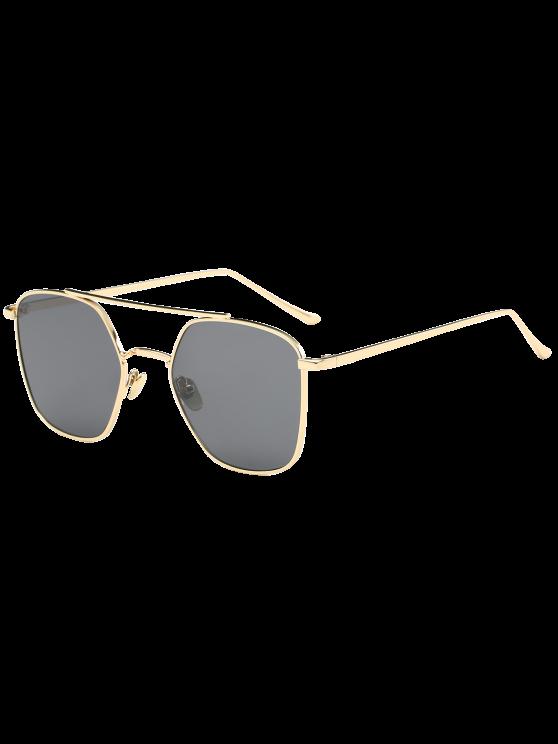 المعادن العارضة المضادة للأشعة فوق البنفسجية المضلع النظارات الشمسية - ذهب إطار أسود عدسة +