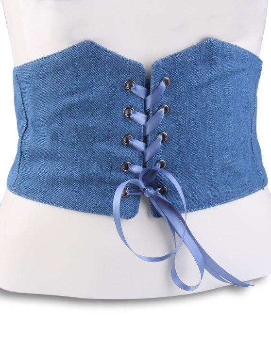 hot Lace Up Denim Corset Belt - LIGHT BLUE