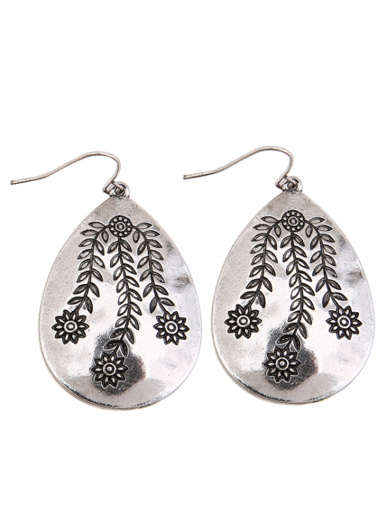 Las Alloy Engraved Leaf Flower Teardrop Earrings Silver