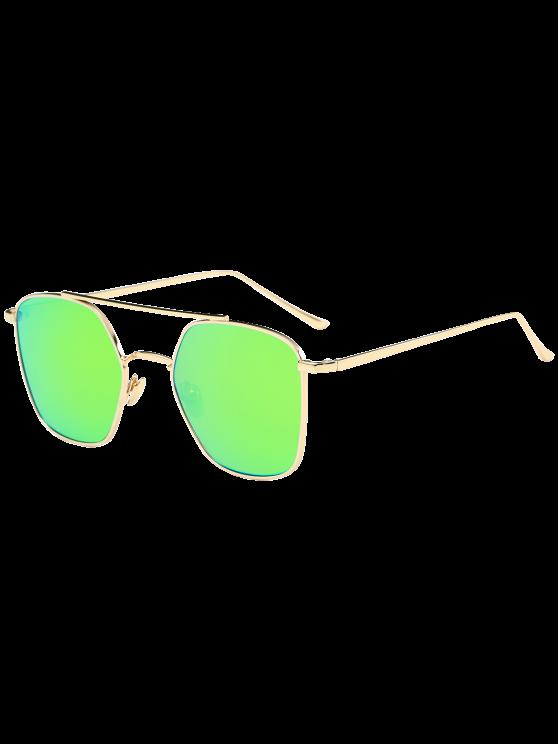 مرآة عاكسة هندسية معدنية عيار النظارات الشمسية - ذهب إطار + عدسة الأخضر