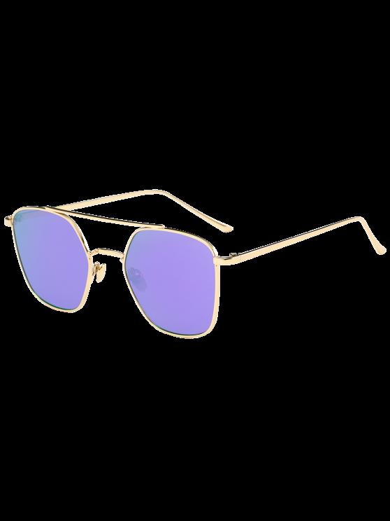 مرآة عاكسة هندسية معدنية عيار النظارات الشمسية - الذهب الإطار + الأرجواني عدسة