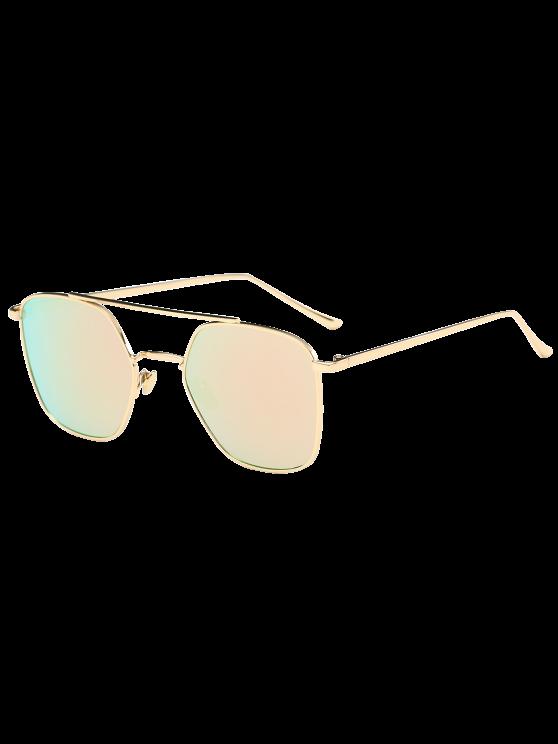مرآة عاكسة هندسية معدنية عيار النظارات الشمسية - الذهب الإطار + الوردي عدسة