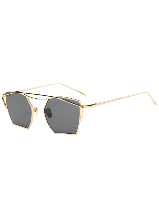 sale Cambered Metal Crossbar Geometric Mirror Sunglasses - GOLD FRAME + BLACK LENS