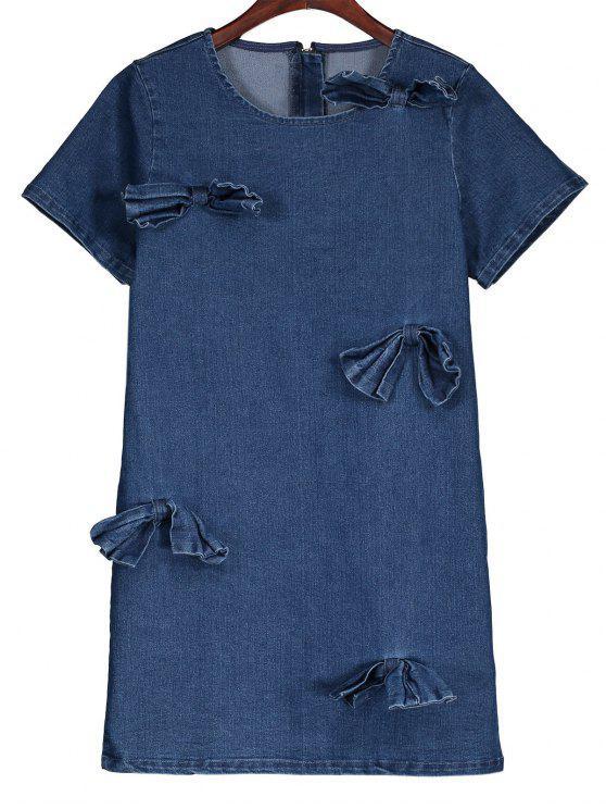 latest Bowknot Denim Shift Dress - DENIM BLUE S