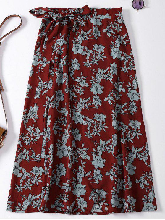 women Floral High Slit Wrap Holiday Skirt - WINE RED ONE SIZE