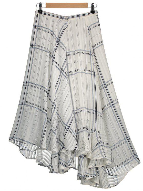 Línea geométrica falda asimétrica de gasa en capas - Blanco L