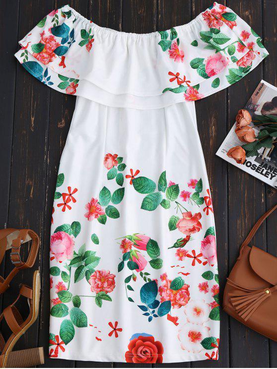 Vestido de Vaina Fuera del Hombro con Volantes - Blanco 2XL