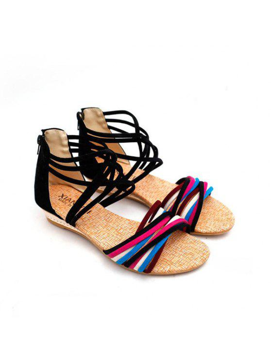 shop Zipper Cross Straps Sandals - BLACK 38