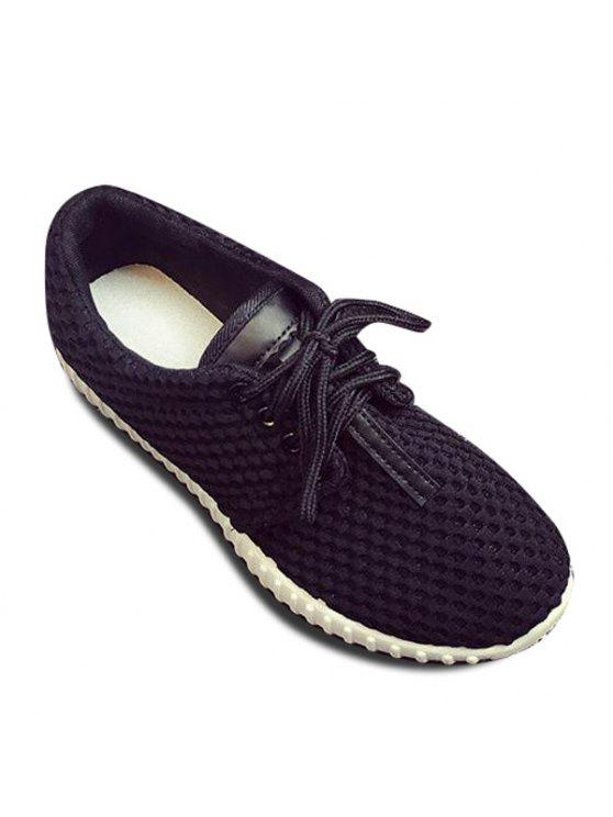 women Breathable PU Leather Mesh Athletic Shoes - BLACK 38