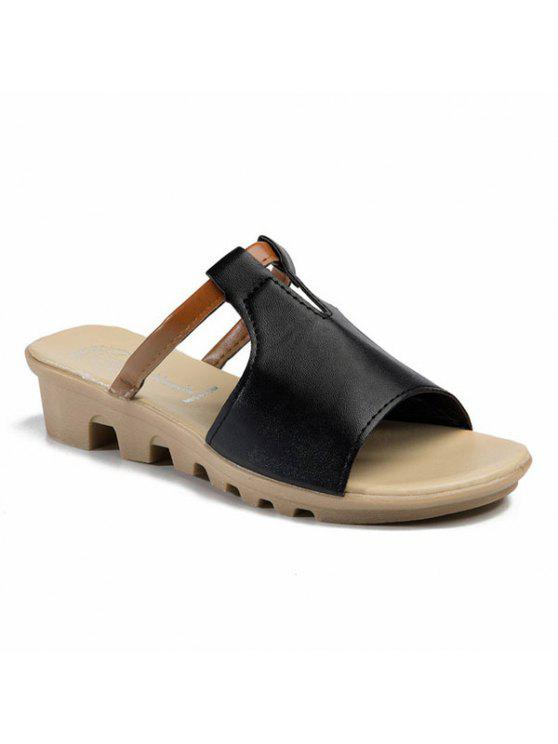 latest Colour Block Wedge Heel Slippers - BLACK 38