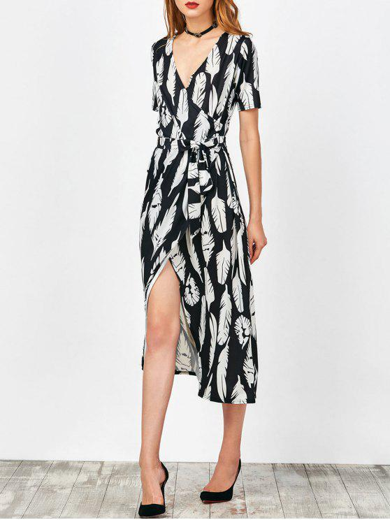 فستان طباعة الريشة لف ماكسي - أسود L