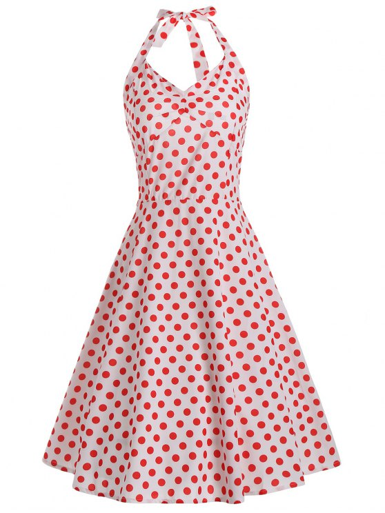 6b028ae401 29% OFF  2019 Lace Up Halter Polka Dot 50s Dress In WHITE