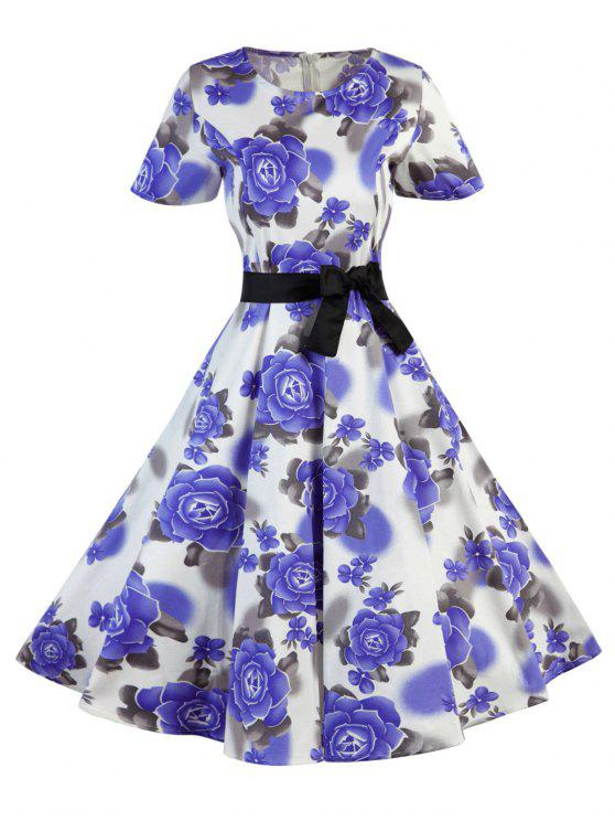 Polka Dot Blumen Vintage Kleid - Lila S
