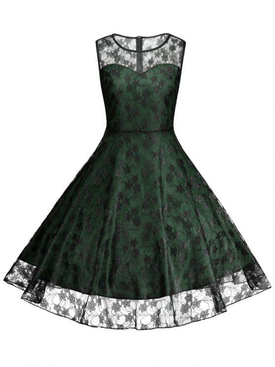 Floral Vinatge Lace Plus Size Dress Green Plus Size Dresses 3xl Zaful
