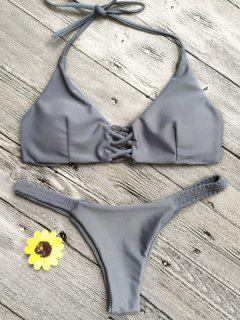 Crisscross Macrame Halter Bikini Set - Grau S