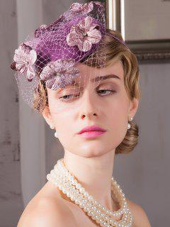Mesh Flowers Banquet Hairpin 1940s Cocktail Hat - Purple