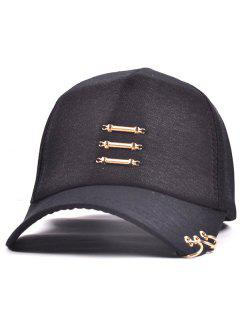 Metallic Stick Circle Ring Baseball Cap - Black