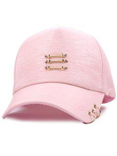 Metallic Stick Circle Ring Baseball Cap - Pink