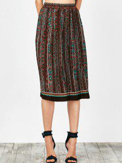 Tribal Print Pleated Skirt - Brown