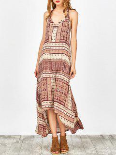 Printed Halter High Low Robe - Rose Nu S