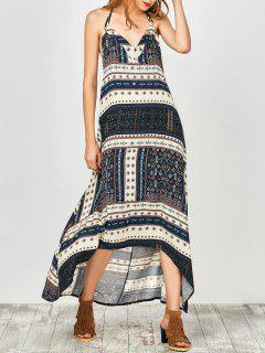 Printed Halter High Low Robe - Bleu Cadette S