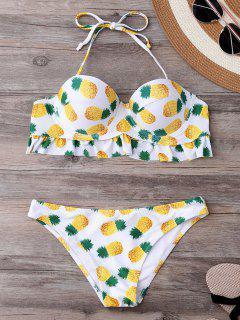 Underwire Geformte Ananas Print Bikini Set - Weiß L