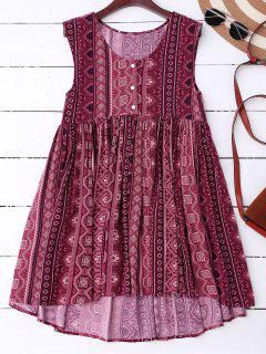 High Low Tribal Print Shift Dress - Dark Red S