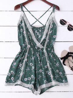 Lace Trim Floral Romper - Green S