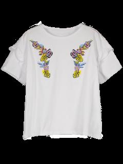 Camiseta Bordada Floral Con Volantes Bordados - Blanco L