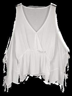Blusa De Manga Larga Sobrepuesta - Blanco L