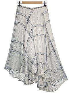 Geometric Line Asymmetric Layered Chiffon Skirt - White L