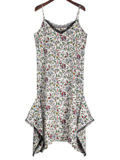 Slip Floral Asymmetric Lace Trim Dress - Blanco L