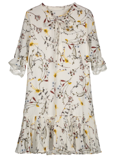 Pussy Bow Tie Floral Pleated Hem Dress - White M
